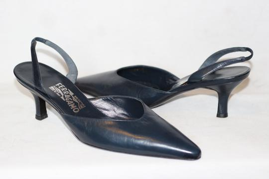 Salvatore Ferragamo Leather Italian Luxury Pumps Heels Blue Formal Image 1
