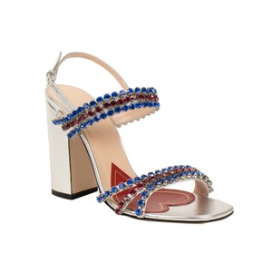 Gucci Leather Crystal Sandal Open Toe Ankle Strap Silver Pumps