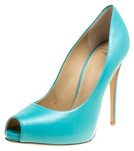 Giuseppe Zanotti Leather Peep Toe Blue Pumps