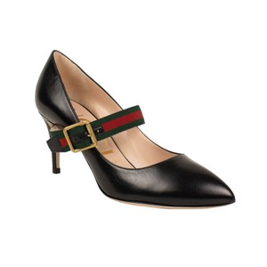Gucci Leather Pointed Toe Buckle Gold Hardware Black Pumps
