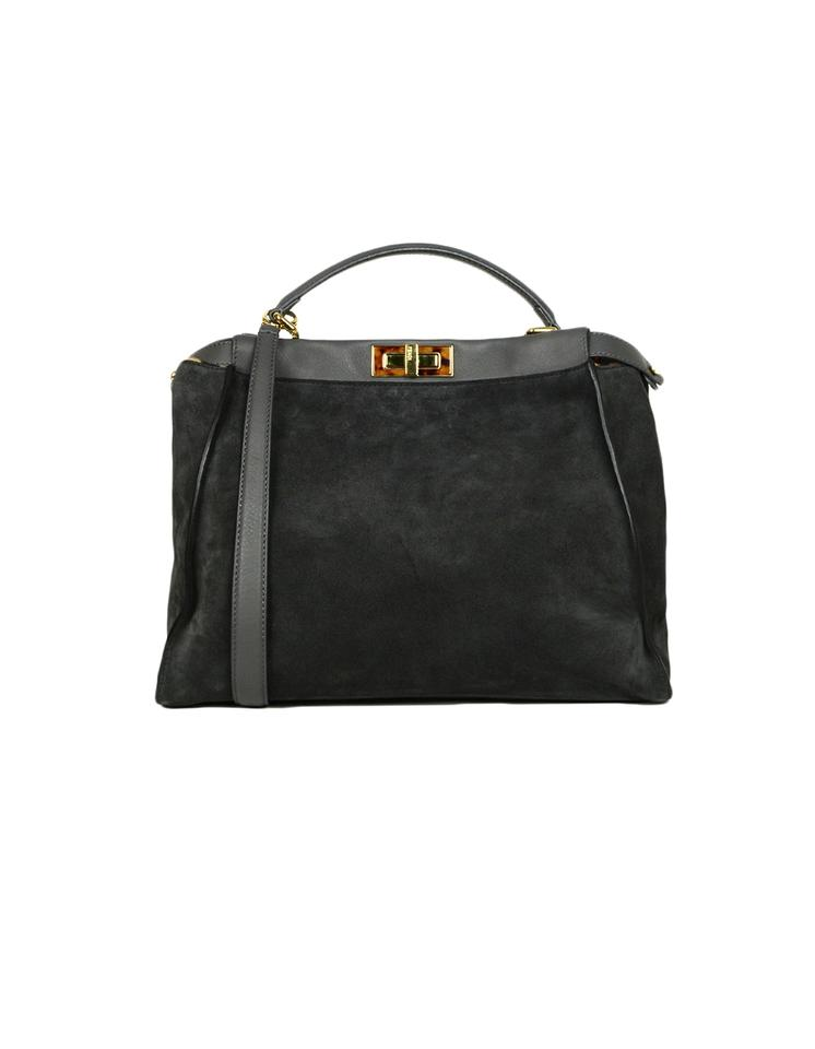 c7d399e7 Fendi W Large Peekaboo W. Leopard Print Calf Hair Interior Grey Suede  Leather Satchel 71% off retail