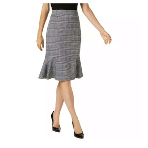 NY Collection Skirt black plaid