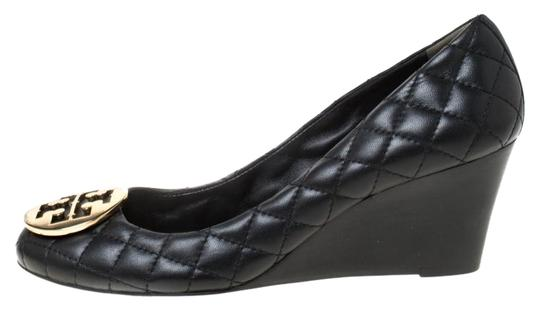Tory Burch Leather Wedge Quilted Black Pumps Image 0