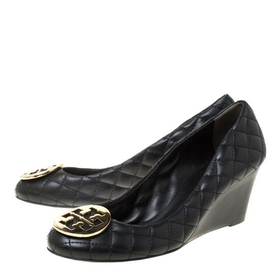 Tory Burch Leather Wedge Quilted Black Pumps Image 4