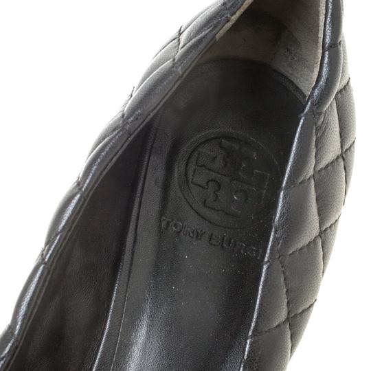 Tory Burch Leather Wedge Quilted Black Pumps Image 5