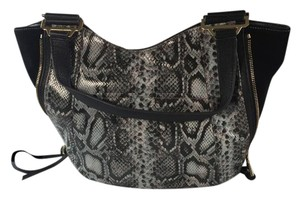 Aimee Kestenberg Convertible Body Tote Black Leather Purse Removable Strap Designer Soft Grey Cobra Messenger Bag