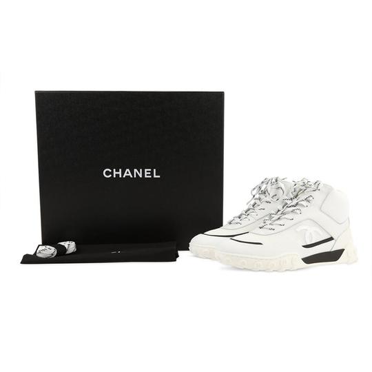Chanel Lycra Mesh High Top Leather White Athletic Image 1
