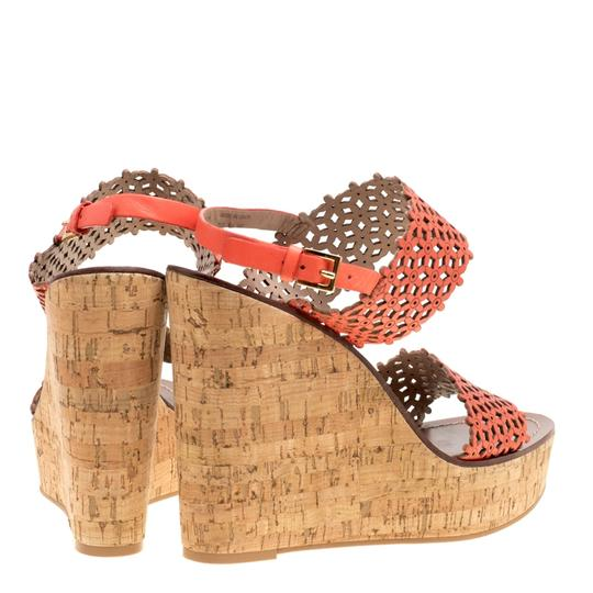 Tory Burch Leather Perforated Wedge Red Sandals Image 2