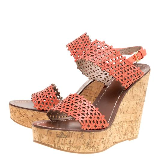 Tory Burch Leather Perforated Wedge Red Sandals Image 4