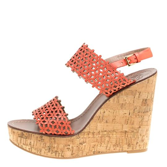 Tory Burch Leather Perforated Wedge Red Sandals Image 5