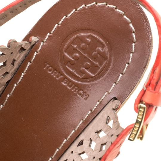 Tory Burch Leather Perforated Wedge Red Sandals Image 6