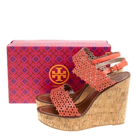 Tory Burch Leather Perforated Wedge Red Sandals Image 7
