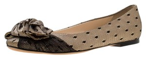 Dior Satin Lace Leather Beige Flats