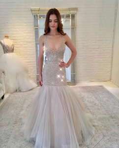 Lazaro Champagne and Nude Tulle Beaded 3752 Formal Wedding Dress Size 8 (M)