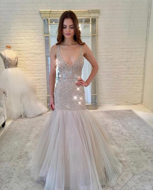 Item - Champagne and Nude Tulle Beaded 3752 Formal Wedding Dress Size 8 (M)