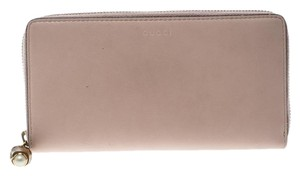 Gucci Blush Pink Leather Bamboo Zip Around Wallet