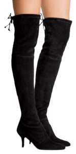 Stuart Weitzman Suede Tiemodel Over-the-knee Black Boots