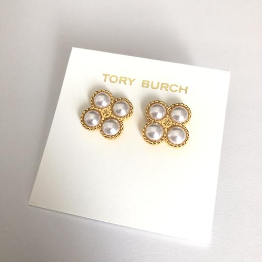 Tory Burch New Tory Burch Rope Clover Pearl Stud Earring Gold Image 1
