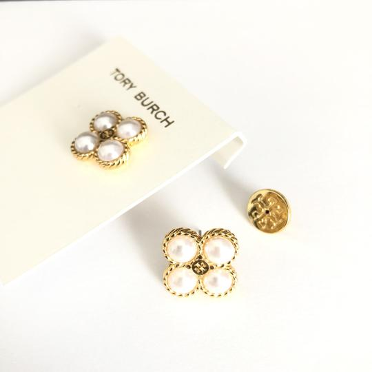 Tory Burch New Tory Burch Rope Clover Pearl Stud Earring Gold Image 2