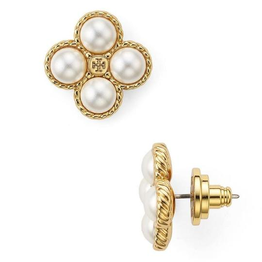 Tory Burch New Tory Burch Rope Clover Pearl Stud Earring Gold Image 3