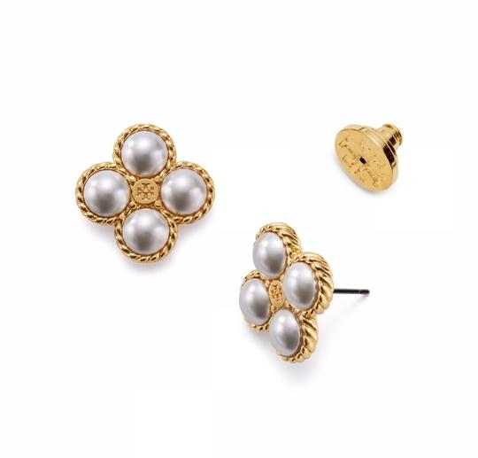 Tory Burch New Tory Burch Rope Clover Pearl Stud Earring Gold Image 4