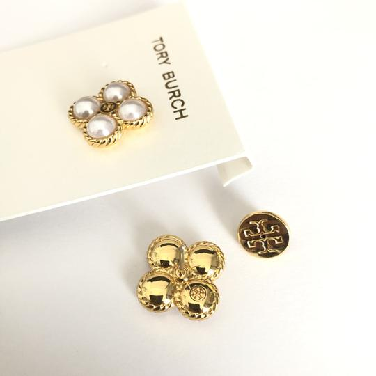 Tory Burch New Tory Burch Rope Clover Pearl Stud Earring Gold Image 7