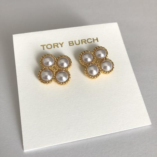 Tory Burch New Tory Burch Rope Clover Pearl Stud Earring Gold Image 8