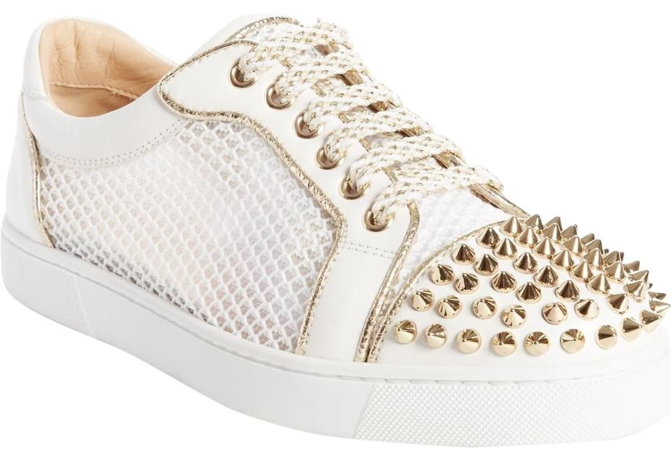 purchase cheap 08c62 2e728 Christian Louboutin White with Gold Spikes Vieira Low Top Sneakers Size EU  37 (Approx. US 7) Regular (M, B) 68% off retail