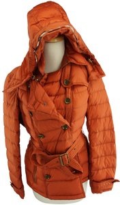 Burberry Brit Bright Tortoiseshell Quilted Hooded Belted Double Breasted Coat