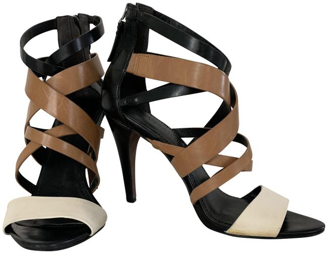 Item - Black Tan and Cream Hinda Colorblock Strappy Sandals Size US 8.5 Regular (M, B)