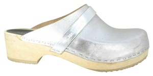 swedish hasbeens Womens Metalic Slip On Silver Mules