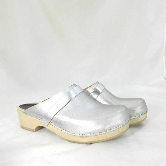 swedish hasbeens Womens Metalic Slip On Silver Mules Image 2