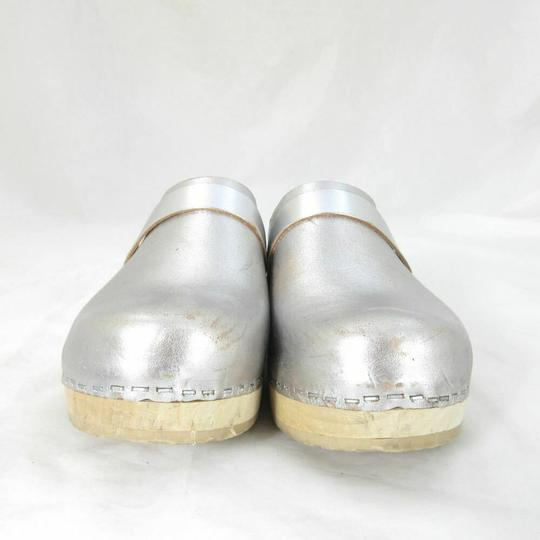 swedish hasbeens Womens Metalic Slip On Silver Mules Image 3