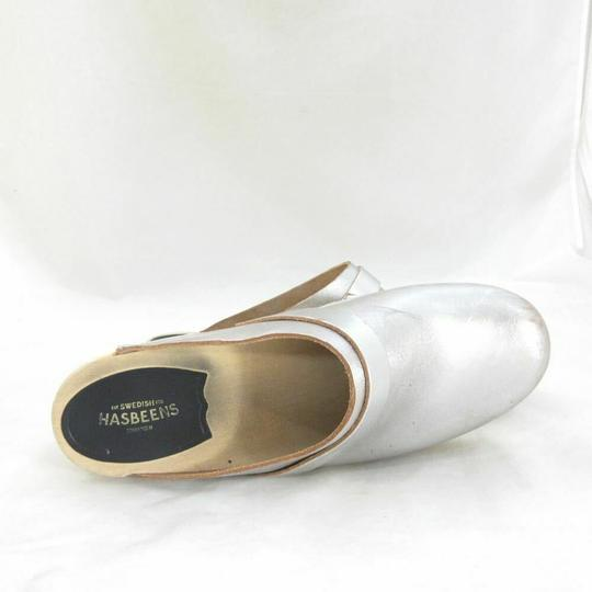 swedish hasbeens Womens Metalic Slip On Silver Mules Image 5