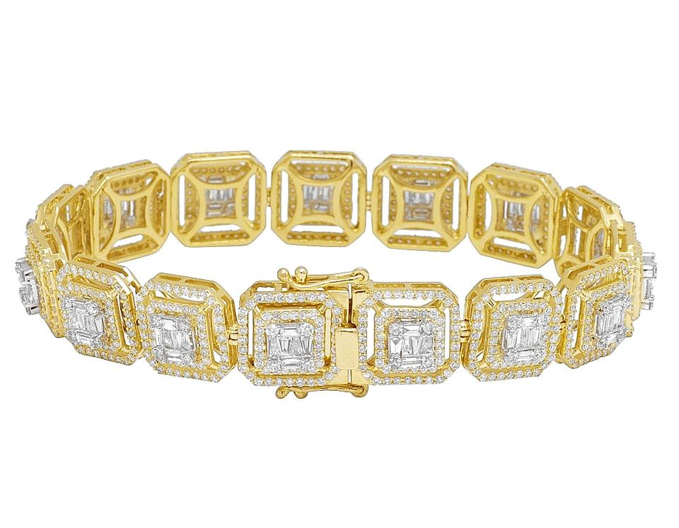 Jewelry Unlimited Yellow Gold 14k Double Halo Baguette Diamond Mm 9 15 Ct Bracelet 71 Off Retail