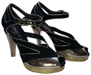 Chanel Blue and Gold Platforms
