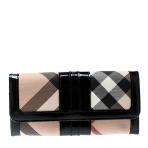 Burberry Beige/Black PVC and Patent Leather Penrose Continental Wallet