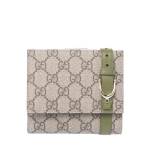 Gucci Beige/Green GG Canvas and Leather Compact Wallet