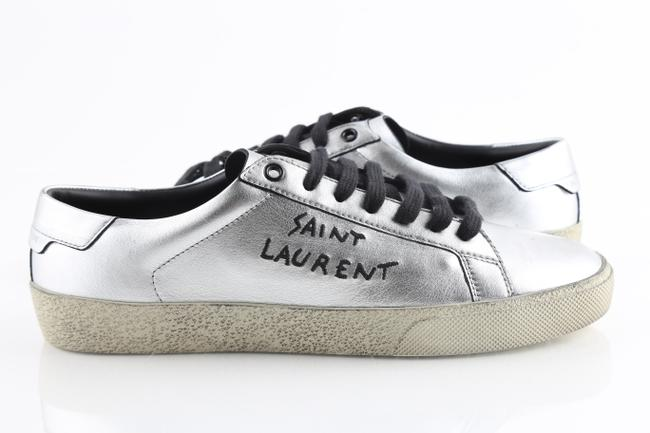 Item - Silver Metallic Leather Sneakers Shoes