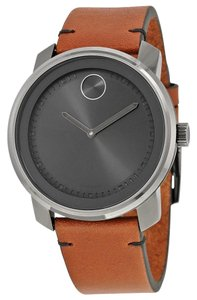 Movado Bold Leather Gunmetal Stainless Steel 3600366 Watch