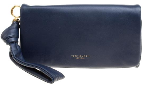 Tory Burch Navy Blue Leather Beau Wristlet Image 0