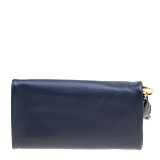 Tory Burch Navy Blue Leather Beau Wristlet Image 1