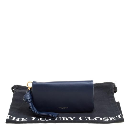 Tory Burch Navy Blue Leather Beau Wristlet Image 10