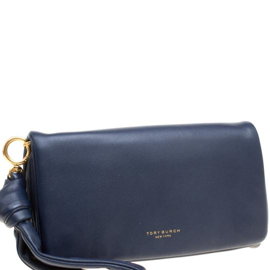 Tory Burch Navy Blue Leather Beau Wristlet Image 3