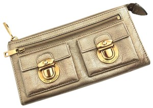 Marc Jacobs MARC JACOBS VENETIA GOLD METALLIC LEATHER WALLET