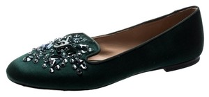 Tory Burch Satin Crystal Embellished Green Flats