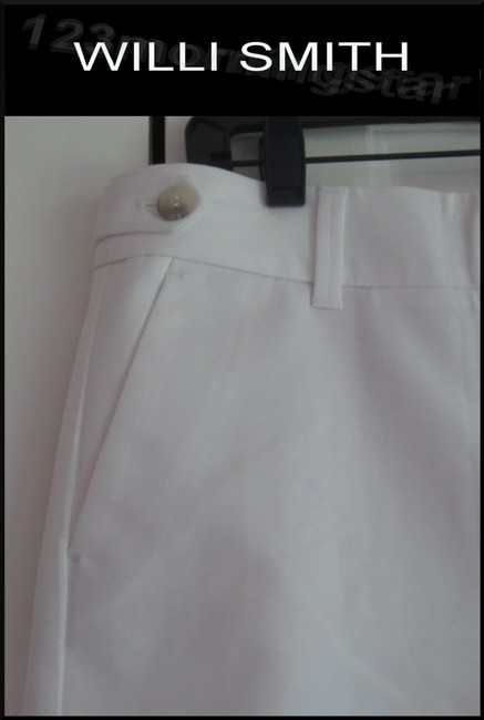 Willi Smith Buttoned Tabs Belt Loops Relaxed Fit Slant Pockets Welt Back Pockets Dress Shorts White Image 4