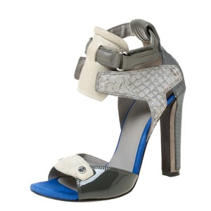 Alexander Wang Leather Ankle Strap Patent Leather Suede Grey Sandals
