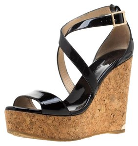 Jimmy Choo Patent Leather Wedge Cross Strap Black Sandals