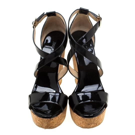 Jimmy Choo Patent Leather Wedge Cross Strap Black Sandals Image 1